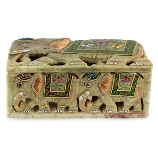 Handmade Soapstone Box, 'Indian Elephants' (India)