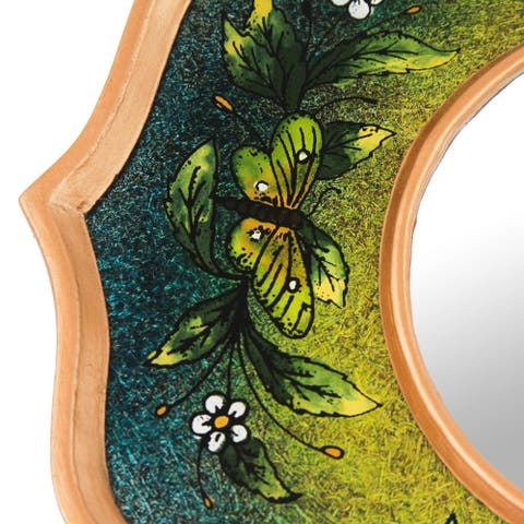 """Handmade Reverse Painted Glass Mirror Turquoise Butterfly Sky (Peru) - 8.75""""x8.75"""""""