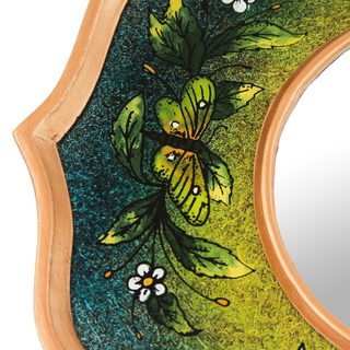 Handmade Reverse Painted Glass Mirror, 'Turquoise Butterfly Sky' (Peru)