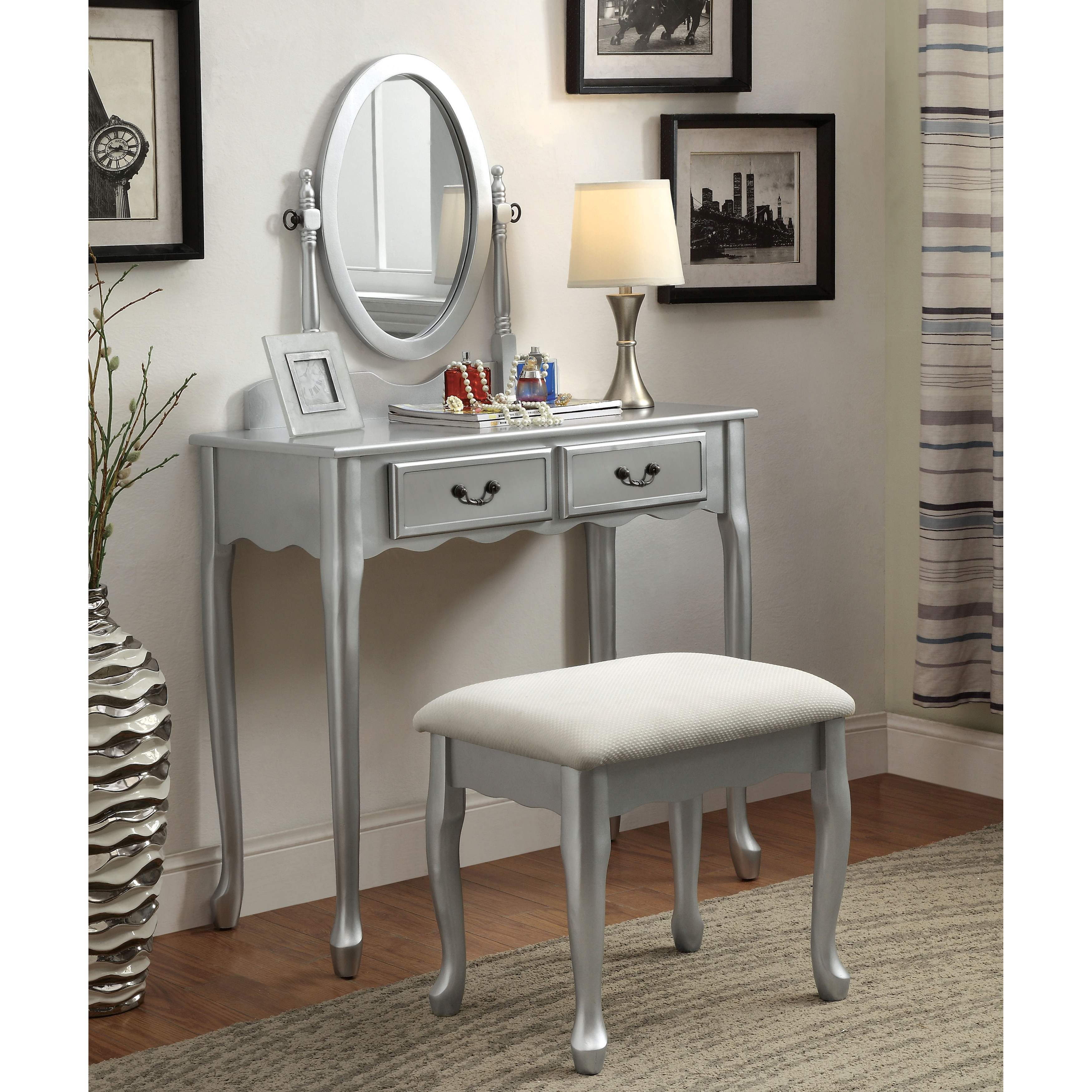 Etonnant Furniture Of America Savanna 2 Piece Classic Vanity Table And Stool ...