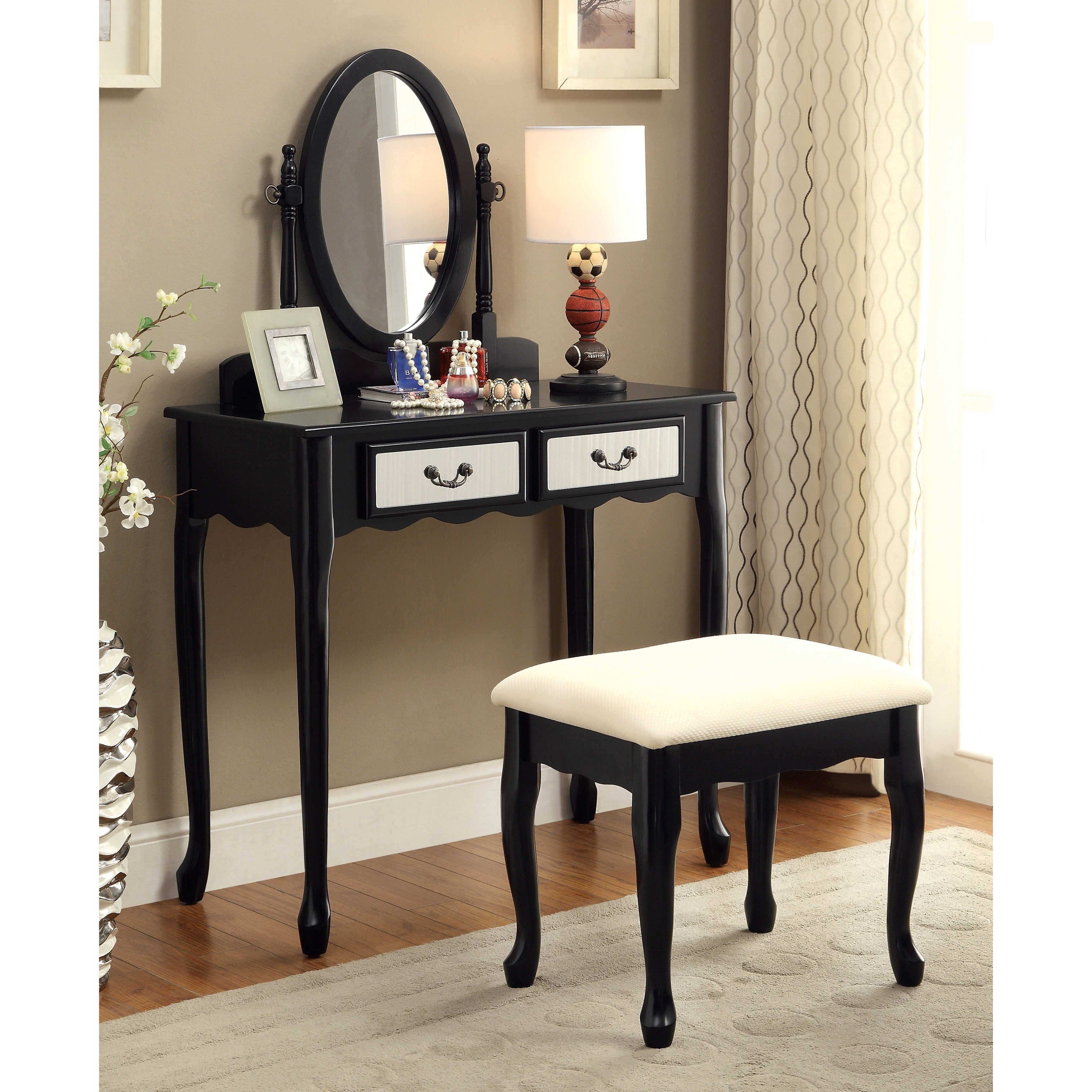 Furniture Of America Savanna 2 Piece Classic Vanity Table And Stool ...