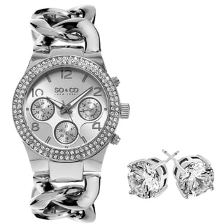 SO&CO New York Gift with Purchase Women's Crystal Stainless Steel Watch with Crystal Stud Earings