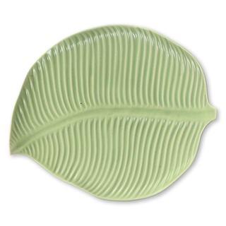 Ceramic Plate, 'Jungle Banana Leaf' (Indonesia)
