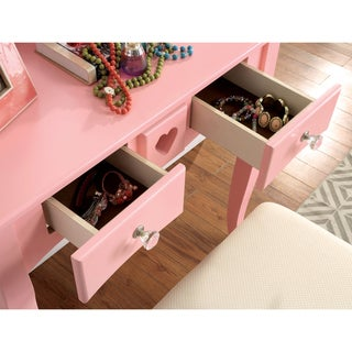 Furniture of America Carolina 2-piece Romantic Makeup Vanity Table and Stool Set