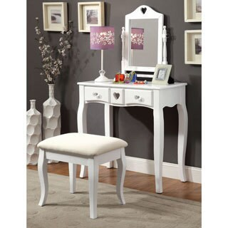 Furniture of America Carolina 2-piece Romantic Makeup Vanity Table and Stool Set