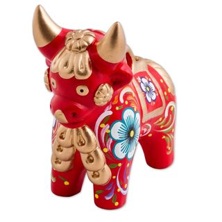 Handmade Ceramic Figurine, 'Red Pucara Bull' (Peru)
