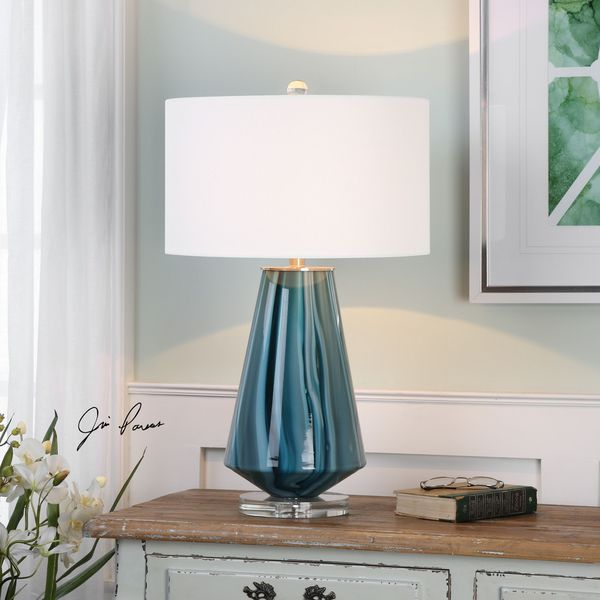 Uttermost Pescara Teal-Gray Glass Lamp