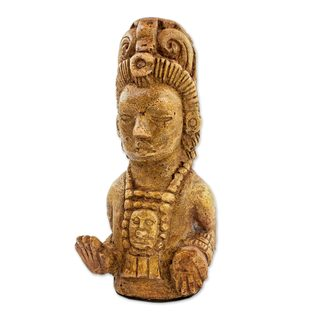 Marble Dust Figurine, 'Maya Maize God' (Guatemala)
