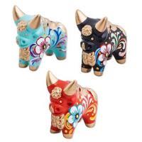 Handmade Set of 3 Ceramic Figurines, 'Little Pucara Bulls' (Peru)