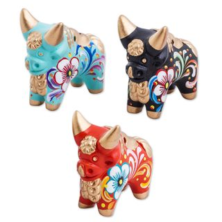 Handmade Set of 3 Ceramic Figurines, 'Little Pucara Bulls' (Peru)