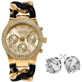 SO&CO New York Women's Goldtone/ Black Two-tone with Crystal Stud Earrings Mothers Day Gift Watch Set