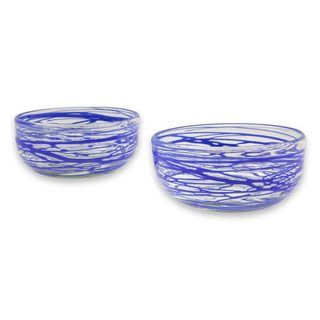 Pair of 2 Blown Glass Bowls, 'Sapphire Swirl' (Mexico)