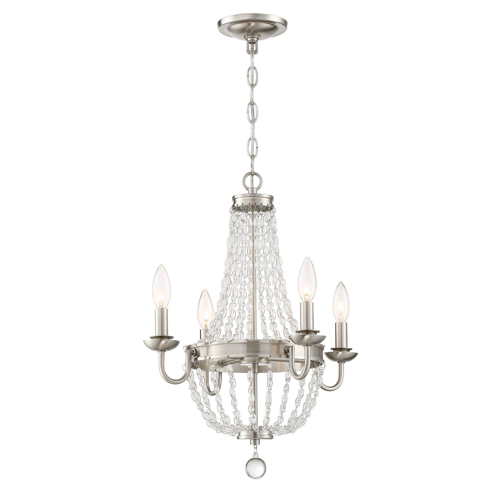 Lite Source 4-Light Palila Chandelier (Brush Nickel) (Cry...