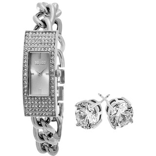 SO&CO New York Women's Stainless Steel with Crystal Stud Earrings Mothers Day Gift Watch Set