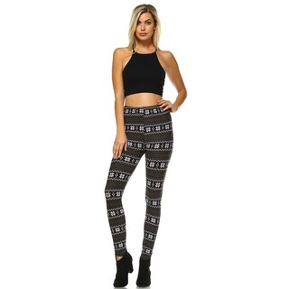 Women's Black and Green Polyester Spandex Printed Leggings