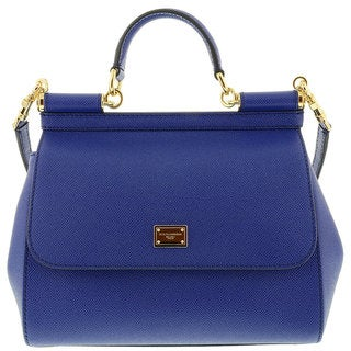 Dolce & Gabbana 'Sicily' Small Leather Blue Tote Handbag