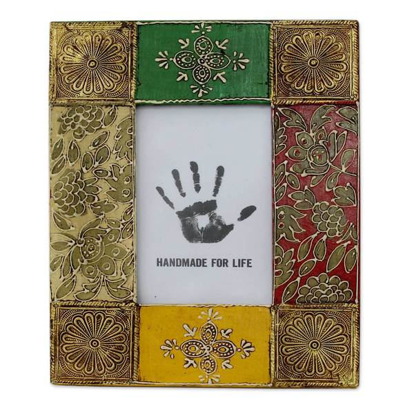 Handmade Brass 4X6 Photo Frame, 'Bollywood Beauty' (India)