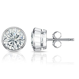 Auriya GIA Certified Platinum Bezel Setting 1.70 ct. TDW (K-L, VS1-VS2) Push Back Round Diamond Stud Earrings