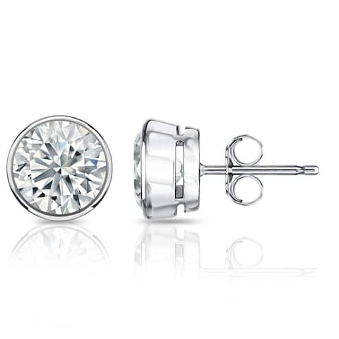 Auriya Round Bezel Set Diamond Stud Earrings 1 1/2 carat TW Platinum GIA Certified