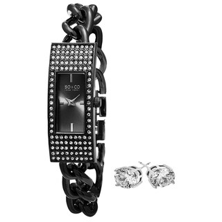 SO&CO New York Gift with Purchase Women's Crystal Black Watch with Crystal Stud Earrings