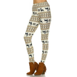 Women's White and Orange Polyester Spandex Leggings