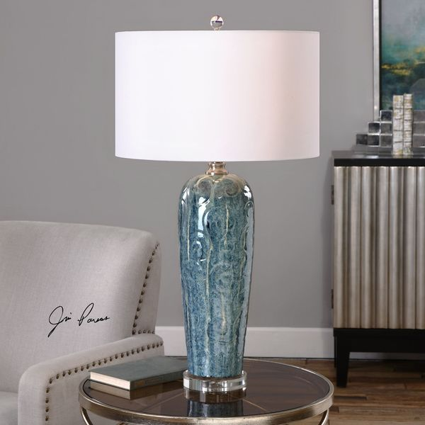 Shop Uttermost Maira Blue Ceramic Table Lamp Free Shipping Today