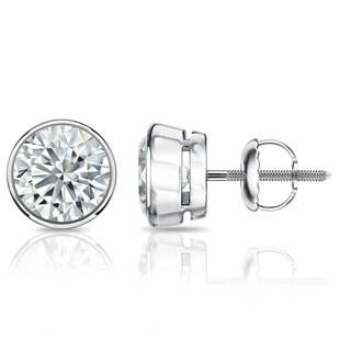 Auriya GIA Certified Platinum Bezel Setting 1.20 ct. TDW (K-L, VVS1-VVS2) Screw Back Round Diamond Stud Earrings