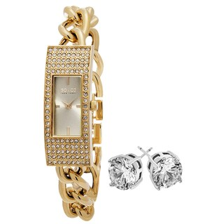 SO&CO New York Women's Crystal Goldtone with Crystal Stud Earrings Mothers Day Gift Watch Set