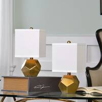 Uttermost Pentagon Cubes Brushed Brass Lamps (Set of 2)