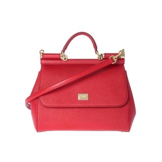 Dolce & Gabbana 'Sicily' Red Leather Tote Handbag
