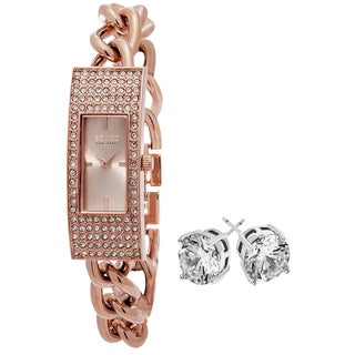 SO&CO New York Women's Rose-tone Bracelet with Crystal Stud Earrings Mothers Day Gift Watch Set