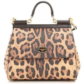 Dolce & Gabbana 'Sicily' Leather Leopard Tote Handbag