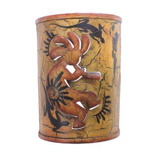 Handmade Iron Wall Candleholder, 'Kokopelli's Cave' (Mexico)