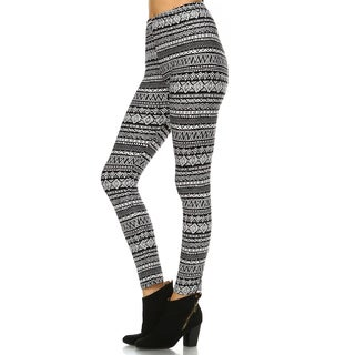 Women's Black and White Polyester and Spandex One Size Printed Leggings