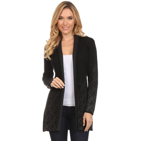 High Secret Women's Black Cotton and Acrylic Fade Print Open-front Cardigan