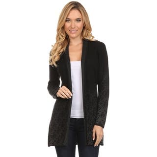 High Secret Women's Black Cotton and Acrylic Fade Print Open-front Cardigan|https://ak1.ostkcdn.com/images/products/13577907/P20253091.jpg?impolicy=medium