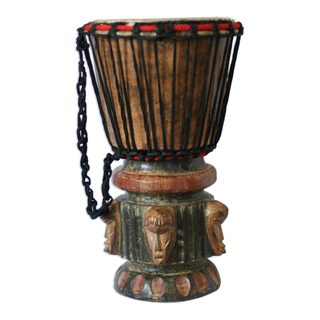 Wood Djembe Drum, 'Think Together' (Ghana)