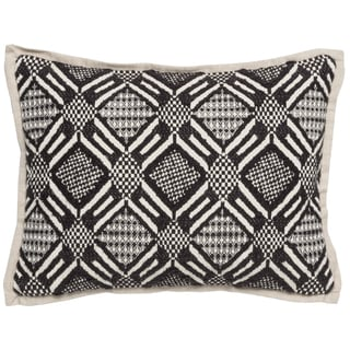 Kosas Home Trang Hand Woven 12x16 Cotton Black Ivory Down and Feather Filled Throw Pillow