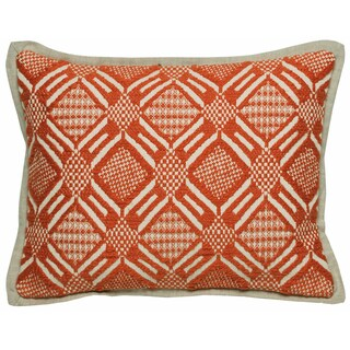 Kosas Home Trang Hand Woven 12x16 Cotton Orange Ivory Down and Feather Filled Throw Pillow