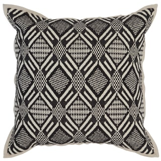 Kosas Home Pattaya Hand Woven 18x18 Cotton Black Ivory Down and Feather Filled Throw Pillow