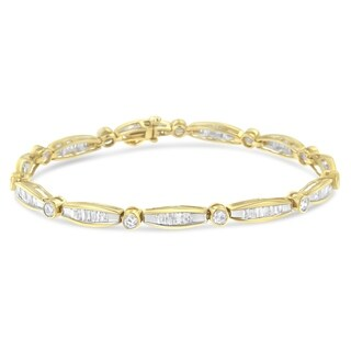 14k Yellow Gold 1 7/8ct TDW Round and Baguette Cut Diamond Circle Link Bracelet (H-I, SI2-I1)