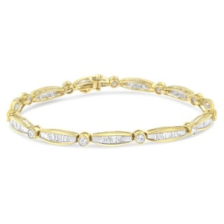 14K Yellow Gold 1 7/8ct TDW Diamond Station Link Bracelet (H-I, SI2-I1)