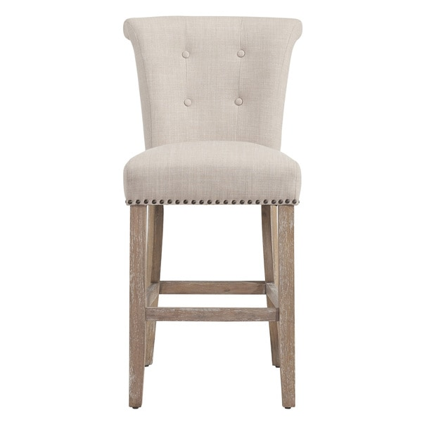 Selma Beige Fabric Counter Stool Set Of 2 Free