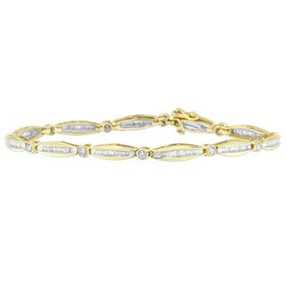 14k Yellow Gold 1 1/2ct TDW Round and Baguette Cut Diamond Circle Link Bracelet (H-I, SI2-I1)