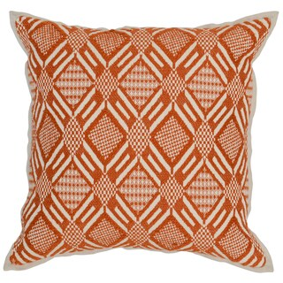 Kosas Home Pattaya Hand Woven 18x18 Cotton Orange Ivory Down and Feather Filled Throw Pillow