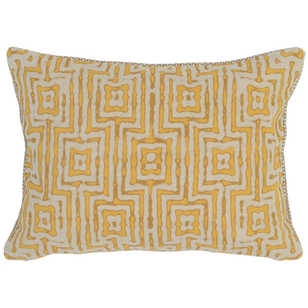 Kosas Home Gapan 14x20 Cotton Linen Yellow Down and Feather Filled Throw Pillow