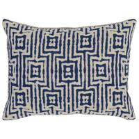 Kosas Home Gapan 14x20 Cotton Linen Blue Down and Feather Filled Throw Pillow