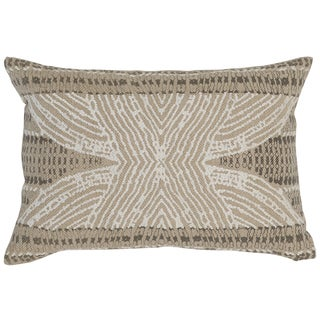 Kosas Home Rizal Embroidered 14x20 Cotton Ivory Taupe Down and Feather Filled Throw Pillow