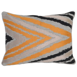 Kosas Home Pali Embroidered 14x20 Linen Cotton Orange Black Down and Feather Filled Throw Pillow