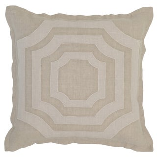 Kosas Home Buri Embroidered 18x18 Linen Natural Down and Feather Filled Throw Pillow